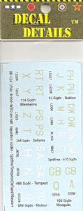 BR-124  1/144 British WW2 aircraft squadron codes - Spitfire/Tempest/Defiant/Mossie